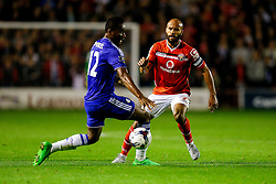 Adam Chambers of Walsall is challenged by Mikel John Obi of Chelsea - Mandatory byline: Rogan Thomson/JMP - 07966 386802 - 23/09/2015 - FOOTBALL - Bescot Stadium - Walsall, England - Walsall v Chelsea - Capital One Cup.