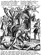 Ferdinand Alvarez de Toledo, Duke of Alva (1508-82) Spanish general and statesman. As lieutenant-general in the Netherlands 1567-73, enforced brutal anti-Protestant rule. Here shown eating a child while, under his feet, are the decapitated bodies of counts Egmont and Horn. From engraving published in the Netherlands in 1572