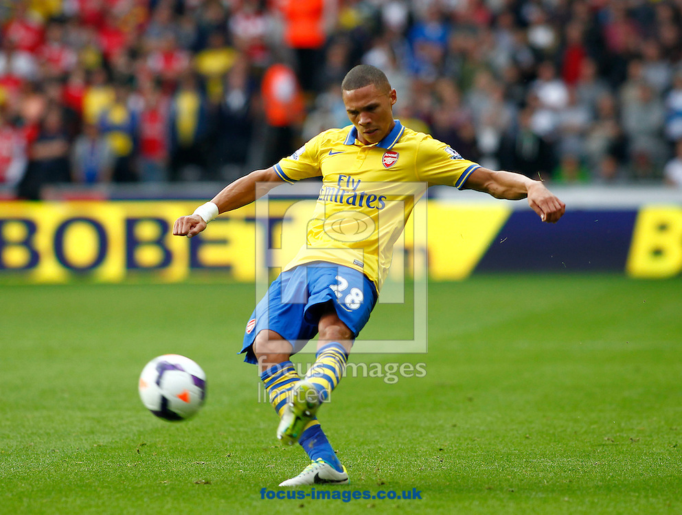 Picture by Mike  Griffiths/Focus Images Ltd +44 7766 223933<br /> 28/09/2013<br /> Kieran Gibbs of Arsenal during the Barclays Premier League match at the Liberty Stadium, Swansea.