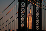 Manhattan Bridge and Empire State Building, Connecting Manhattan and Brooklyn, New York City, New York