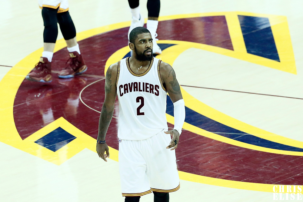 09 June 2017: Cleveland Cavaliers guard Kyrie Irving (2) celebrates during the Cleveland Cavaliers 137-11 victory over the Golden State Warriors, in game 4 of the 2017 NBA Finals, at  the Quicken Loans Arena, Cleveland, Ohio, USA.