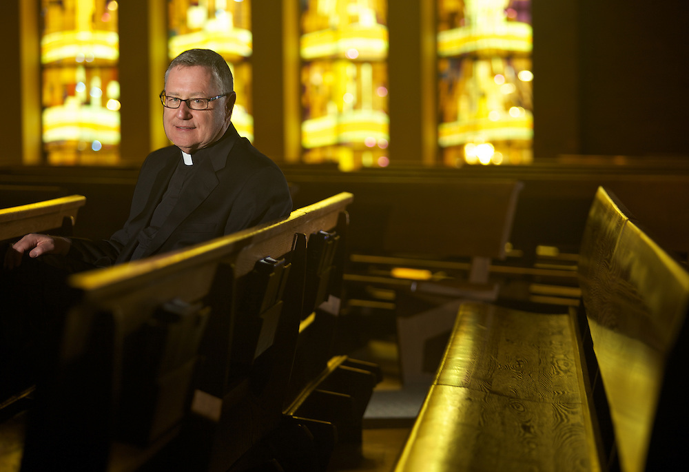 London, Ontario ---10-04-01--- Farther John Sharp, the Bishop's Delegate for Misconduct sits in the pews in St. Michaels Parish in London, Ontario, April 1, 2010 where he is an Associate Pastor.<br /> GEOFF ROBINS The Globe and Mail