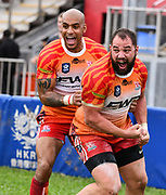 HONG KONG, HONG KONG SAR,CHINA. APRIL  21st, 2019. <br /> Global Rapid Rugby at Aberdeen Sports Ground Hong Kong.<br /> FWD South China Tigers win against the Asia Pacific dragons from Singapore.<br /> Luke VAN DER SMIT (R) celebrates a try with England International Tom VARNDELL (L).