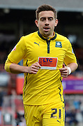 Ollie Lee during the Sky Bet League 2 match between Cheltenham Town and Plymouth Argyle at Whaddon Road, Cheltenham, England on 28 March 2015. Photo by Alan Franklin.