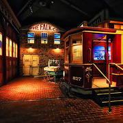 Photo of the Milwaukee Street Railway trolley car and Faulk Company in the Streets of Old Milwaukee at the Milwaukee County Museum.