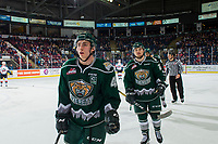 KELOWNA, CANADA - JANUARY 9:  Connor Dewar #43 and Zack Andrusiak #20 of the Everett Silvertips skate to the bench to celebrate a goal against the Kelowna Rockets on January 9, 2019 at Prospera Place in Kelowna, British Columbia, Canada.  (Photo by Marissa Baecker/Shoot the Breeze)