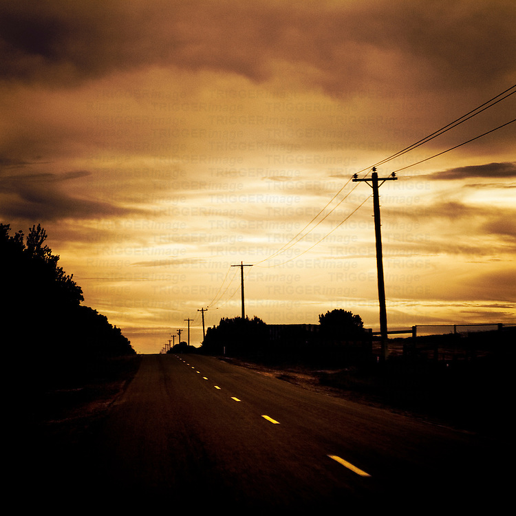 A road at night with white lines and telephone poles leading into the distance under a yellow  cloudy sky