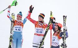 10.02.2014, Rosa Khutor Alpine Center, Krasnaya Polyana, RUS, Sochi, 2014, Super-Kombination, Damen, Podium, im Bild Silbermedaillen Gewinnerin Nicole Hosp (AUT), Olympiasiegerin Maria Hoefl-Riesch (GER), Bronze Medaillen Gewinnerin Julia Mancuso (USA) // Silvermedalist Nicole Hosp (AUT), Olympic Champion Maria Hoefl-Riesch (GER) and Bronze Medalist Julia Mancuso (USA) during Flower Ceremony of the Women's Super Combined of the Olympic Winter Games 'Sochi 2014' at the Rosa Khutor Alpine Center, Krasnaya Polyana, Russia on 2014/02/10. EXPA Pictures © 2014, PhotoCredit: EXPA/ Sammy Minkoff<br /> <br /> *****ATTENTION - OUT of GER*****