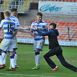 A Morton fan runs onto the pitch after Thomas O'Ware (Morton) opened the scoring during the Scottish Championship match between Dundee United and Greenock Morton at Tannadice.<br /> <br /> (c) Dave Johnston | sportPix.org.uk