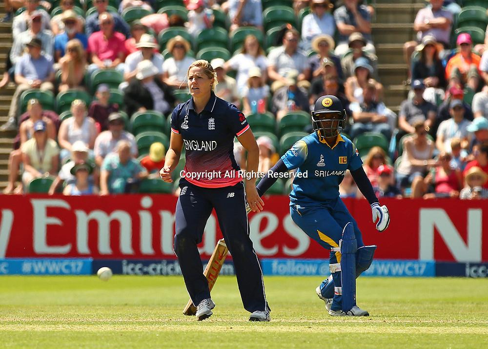 July 2nd 2017, The Cooper Associates County Ground, Taunton, England; The ICC Womens World Cup; England Women versus Sri Lanka Women; Katherine Brunt of England watches as Ama Kanchana of Sri Lanka pinches a single