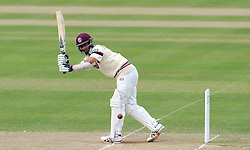 Somerset's Alfonso Thomas flicks the ball. Photo mandatory by-line: Harry Trump/JMP - Mobile: 07966 386802 - 26/05/15 - SPORT - CRICKET - LVCC County Championship - Division 1 - Day 3 - Somerset v Sussex Sharks - The County Ground, Taunton, England.