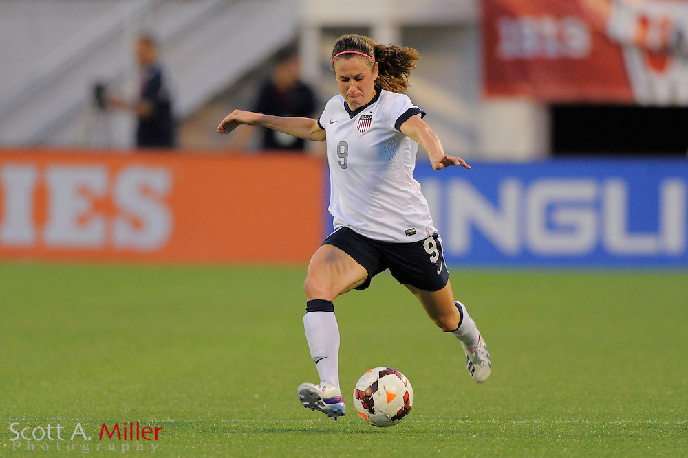 U.S. midfielder Heather O'Reilly (9) in action during the United States' 4-1 win over Brazil in an international friendly at the Florida Citrus Bowl on Nov. 10, 2013 in Orlando, Florida. <br /> <br /> &copy;2013 Scott A. Miller