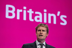 © Licensed to London News Pictures . 21/09/2014 . Manchester , UK . Shadow Education Secretary TRISTRAM HUNT addresses the Labour Party Conference in Manchester this afternoon (21st September 2014) . 2014 Labour Party Conference . Photo credit : Joel Goodman/LNP
