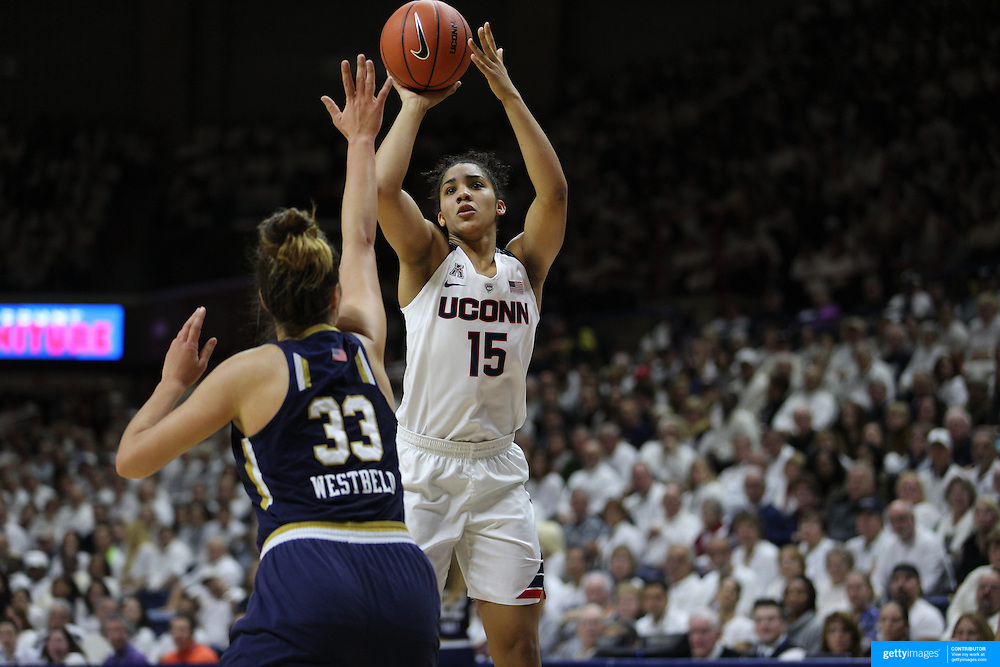 Gabby Williams, UConn, in action during the Notre Dame Vs UConn Women's Basketball game at Grampel Pavilion, Storrs, Connecticut, USA. 5th December 2015. Photo Tim Clayton