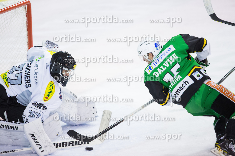 19.10.2012. Hala Tivoli, Ljubljana, SLO, EBEL, HDD Telemach Olimpija Ljubljana vs Dornbirner Eishockey Club, 13. Runde, in picture Chris D'Alvise (HDD Telemach Olimpija, #15) vs Patrick Desrochers (Dornbirner Eishockey Club, #37) during the Erste Bank Icehockey League 13th Round match betweeen HDD Telemach Olimpija Ljubljana and Dornbirner Eishockey Club at the Hala Tivoli, Ljubljana, Slovenia on 2012/10/19. (Photo By Matic Klansek Velej / Sportida)