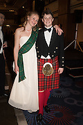 MILLIE DURWARD; CHARLIE HUGHES, The Royal Caledonian Ball 2015. Grosvenor House. Park Lane, London. 1 May 2015.