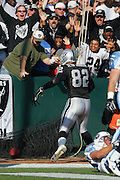 OAKLAND, CA - DECEMBER 19:  Tight end Teyo Johnson #82 of the Oakland Raiders celebrates with fans after catching an 18 yard touchdown pass in the first quarter against the Tennessee Titans at Network Associates Coliseum on December 19, 2004 in Oakland, California. The Raiders defeated the Titans 40-35. ©Paul Anthony Spinelli *** Local Caption *** Teyo Johnson