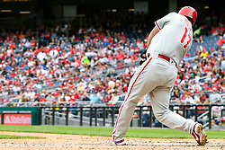 May 6, 2018 - Washington, DC, U.S. - WASHINGTON, DC - MAY 06:  Philadelphia Phillies left fielder Rhys Hoskins (17) hits an RBI single during the game between the Philadelphia Phillies  and the Washington Nationals on May 6, 2018, at Nationals Park, in Washington D.C.  The Washington Nationals defeated the Philadelphia Phillies, 5-4.  (Photo by Mark Goldman/Icon Sportswire) (Credit Image: © Mark Goldman/Icon SMI via ZUMA Press)