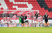 Barnet's Bira Dembele (4) scores for Barnet to make the score 2-1 to Doncaster during the EFL Sky Bet League 2 match between Doncaster Rovers and Barnet at the Keepmoat Stadium, Doncaster, England on 8 October 2016. Photo by Richard Holmes.