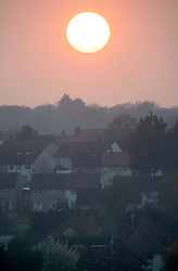 ©Licensed to London News Pictures 08/04/2020  <br /> Orpington, UK. The sun setting over coronavirus lockdown  homes in Orpington, South East London this evening. Photo credit:Grant Falvey/LNP