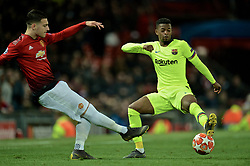 MANCHESTER, ENGLAND - Thursday, April 11, 2019: Manchester United's Diogo Dalot during the UEFA Champions League Quarter-Final 1st Leg match between Manchester United FC and FC Barcelona at Old Trafford. Barcelona won 1-0. (Pic by David Rawcliffe/Propaganda)