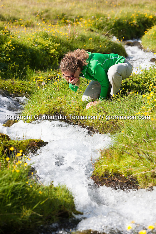 Anna Dóra Hermannsdóttir drinking from a small stream while hiking at Klængshóll travel farm, Skíðadalur, North Iceland.