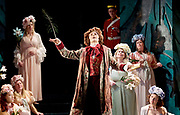 Patience <br /> by Gilbert and Sullivan<br /> English Touring Opera <br /> Hackney Empire <br /> Hackney, London, Great Britain <br /> Rehearsals <br /> 7th March 2017 <br /> <br /> <br /> <br /> Bradley Travis as Bunthorne <br /> <br /> <br /> Photograph by Elliott Franks <br /> Image licensed to Elliott Franks Photography Services