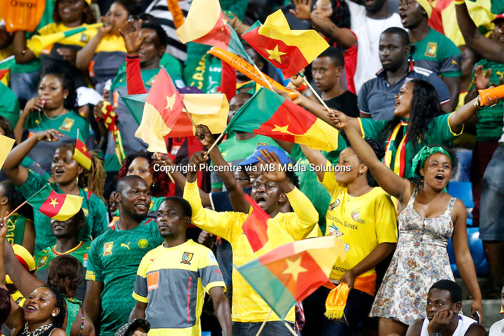 Cameroon fans celebrate their goal against Guinea during their AFCON match at the Nueva Estadio de Malabo on January 24, 2015.The match ended 1-1.Photo/Mohammed Amin/www.pic-centre.com (Equatorial Guinea)