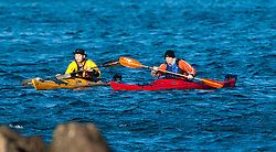 Richard Harpham and Scottish Sun sports editor Iain King tales part in a practise session for his charity kayak challenge, in the waters of the harbour at St Abbs..Pic © Michael Schofield...