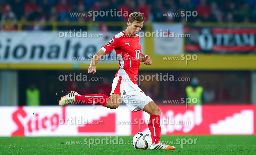 12.10.2015, Ernst Happel Stadion, Wien, AUT, UEFA Euro 2016 Qualifikation, Österreich vs Liechtenstein, Gruppe G, im Bild Florian Klein (AUT) // the UEFA EURO 2016 qualifier group G match between Austria and Liechtenstein at the Ernst Happel Stadion, Vienna, Austria on 2015/10/12. EXPA Pictures © 2015 PhotoCredit: EXPA/ Sebastian Pucher