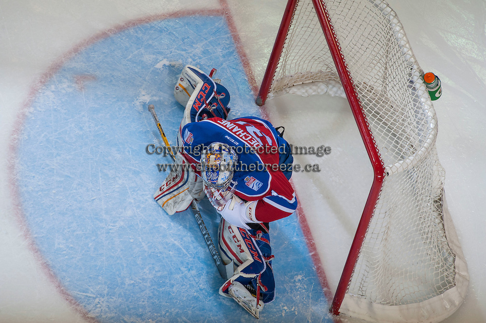 KELOWNA, CANADA - FEBRUARY 22: Josh Dechaine #31 of the Edmonton Oil Kings stretches in net during third period against the Kelowna Rockets on February 22, 2017 at Prospera Place in Kelowna, British Columbia, Canada.  (Photo by Marissa Baecker/Shoot the Breeze)  *** Local Caption ***