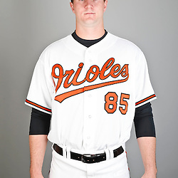 Feb 22, 2013; Sarasota, FL, USA; Baltimore Orioles relief pitcher Mike Wright (85) at the Orioles clubhouse. Mandatory Credit: Derick E. Hingle-USA TODAY Sports