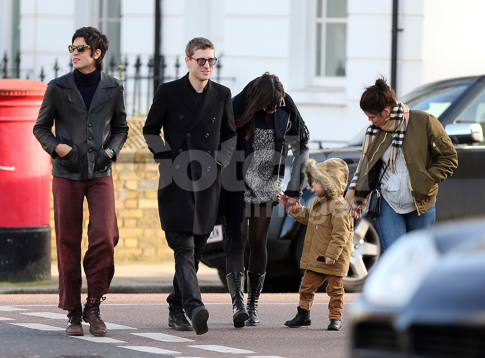 (EXCLUSIVE PICTURES) Model Daisy Lowe, Thomas Cohen, Astala Cohen Geldof, Pixie Geldof and boyfriend George Barrett out shopping for Vintage clothes in Camden Town, London, UK. 16/02/2016<br />