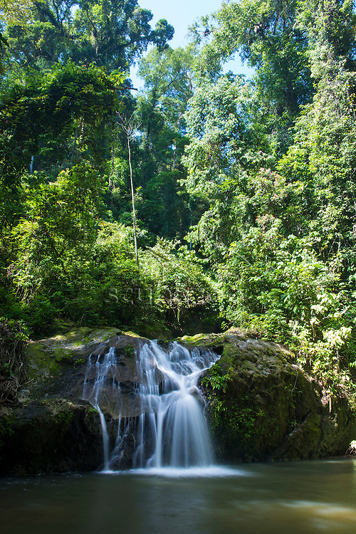 A waterfall in the rainforest, Danum Valley, Sabah, Malaysia.