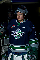 KELOWNA, CANADA - FEBRUARY 23: Dorrin Luding #35 of the Seattle Thunderbirds stands in the tunnel against the Kelowna Rockets  on February 23, 2018 at Prospera Place in Kelowna, British Columbia, Canada.  (Photo by Marissa Baecker/Shoot the Breeze)  *** Local Caption ***
