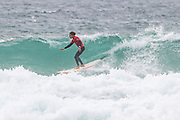 Edouard Delpero performing  during the Boardmasters Longboard Pro at Fistral Beach, Newquay, Cornwall, United Kingdom on 10 August 2019.