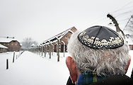 26-1-2015 - auschwitz - Familymember keppel bij de poort is Mordechai Ronen, 82 uit Toronto Canada. and the surivors of Auswitz one day before  the 70 years commemoration in Camp auschwitz Birkenau in poland  . COPYRICHT ROBIN UTRECHT
