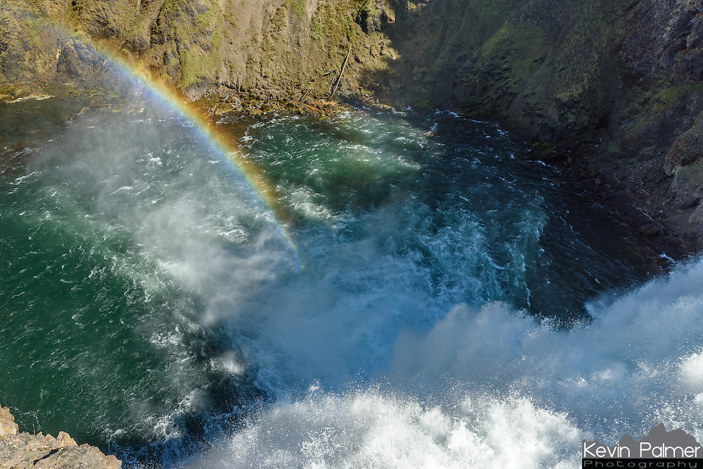 This rainbow appeared above Yellowstone Falls seen from the brink.