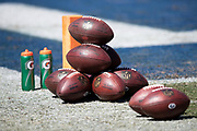 A group of NFL footballs lie on the sideline grass ready for pregame warmups before the Los Angeles Rams 2018 NFL regular season week 2 football game against the Arizona Cardinals on Sunday, Sept. 16, 2018 in Los Angeles. The Rams won the game in a 34-0 shutout. (©Paul Anthony Spinelli)