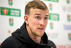 Aden Flint speaks in the pre match press conference ahead of Bristol City's Carabao Cup Quarter Final against Manchester United - Rogan/JMP - 18/12/2017 - Ashton Gate Stadium - Bristol, England - Bristol City v Manchester United - Carabao Cup Quarter Final.