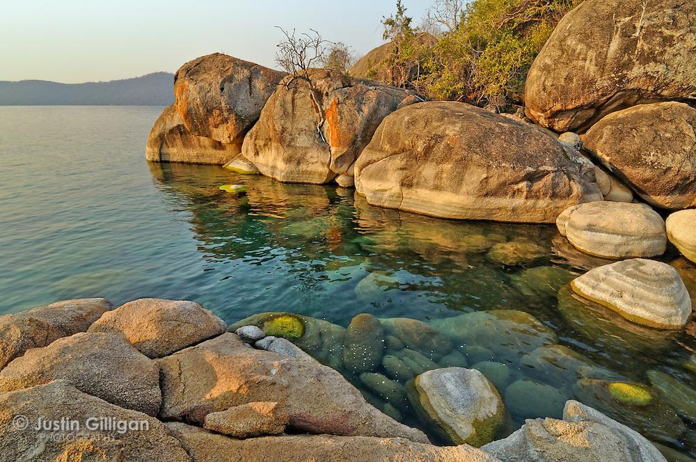 Dramatic shore of the Lake Malawi National Park, Cape Maclear, Lake Malawi, Malawi.
