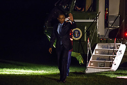 October 11, 2016 - Washington, DC, United States - President Barack Obama returned to the South Lawn of the White House on Marne One October 11, 2106 in Washington, DC., after participating in a town hall conversation hosted by ESPN, and campaigning for Hillary Clinton, in North Carolina. (Credit Image: © Cheriss May/NurPhoto via ZUMA Press)