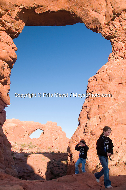 Utah, USA, October 2009. Red Rock natural bridges of Arches National Park, a dry desert landscape. A roadtrip through the Western United States leads us through many impressive national parks. Photo by Frits Meyst/Adventure4ever.com