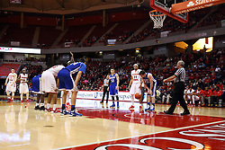26 January 2016: Hal Lusk delivers the ball to a free throw shooter during the Illinois State Redbirds v Drake Bulldogs at Redbird Arena in Normal Illinois (Photo by Alan Look)