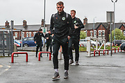 Forest Green Rovers Christian Doidge(9) arrives at the ground during the EFL Sky Bet League 2 match between Crewe Alexandra and Forest Green Rovers at Alexandra Stadium, Crewe, England on 27 April 2019.