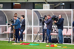 NEWPORT, WALES - Tuesday, August 28, 2018: Media film during a training session at Dragon Park ahead of the final FIFA Women's World Cup 2019 Qualifying Round Group 1 match against England. (Pic by David Rawcliffe/Propaganda)