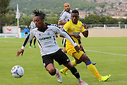 AFC Wimbledon forward Toyosi Olusanya during the Pre-Season Friendly match between Dover Athletic and AFC Wimbledon at Crabble Athletic Ground, Dover, United Kingdom on 12 July 2016. Photo by Stuart Butcher.