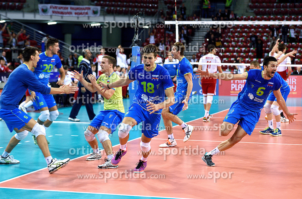 Klemen Cebulj #18, Jani Kovacic #13, Mitja Gasparini #6 during volleyball match between National teams of Poland and Slovenia in Quarterfinals of 2015 CEV Volleyball European Championship - Men, on October 14, 2015 in Arena Armeec, Sofia, Bulgaria. Photo by Ronald Hoogendoorn / Sportida