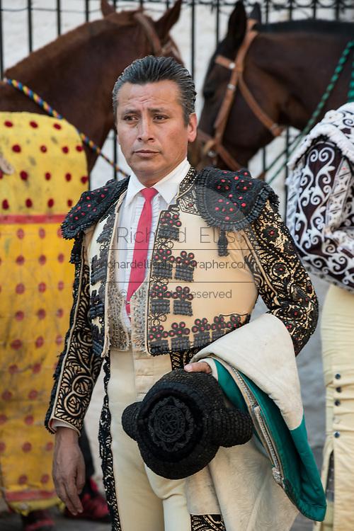A Mexican Matador prepares for the bullfights at the Plaza de Toros in San Miguel de Allende, Mexico.