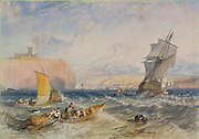 Whitby' c1824: Joseph Mallord Willliam Turner (1775-1851) English artist.  Watercolour on paper.